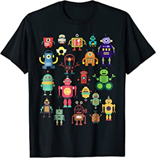 Cute Retro Colorful Robot Collection T-shirt