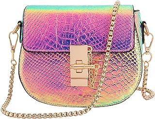 Candice Women Shiny Charming Chain Hologram Holographic Handbag Shoulder Bag Crossbody Bag