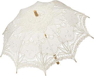 BABEYOND Lace Umbrella Parasol Vintage Wedding Bridal Umbrella for Decoration Photo Lady Costume 1920s Party (Off-White)