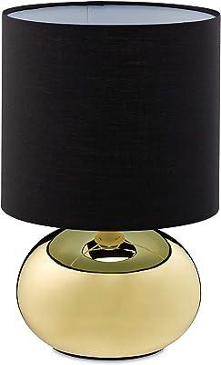 Relaxdays Lampe de Chevet Touch Dimmable Lampe Tactile Moderne 3 Niveaux E14 Lampe de Table avec Câble 28x18cm Doré