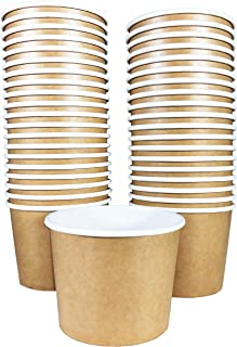 Paper Ice Cream Cups - 50-Count 11-Oz Disposable Dessert Bowls for Hot or Cold Food, 11-Ounce Party Supplies Treat Cups fo...