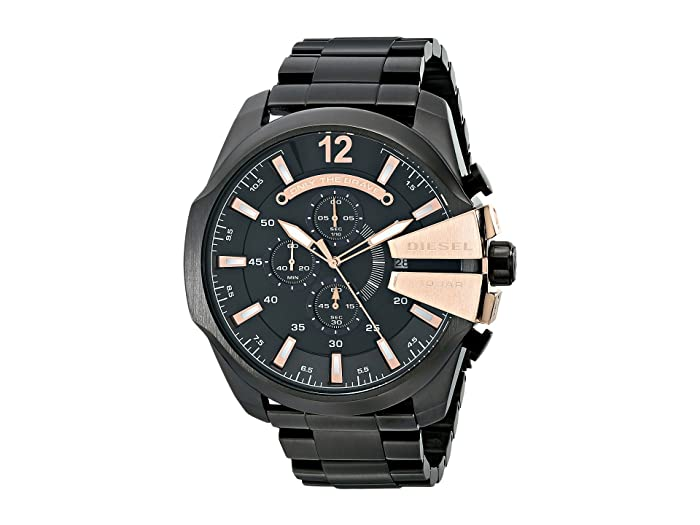 Diesel  Mega Chief DZ4309 (Black Stainless Stell with Black and Rose Dial) Watches