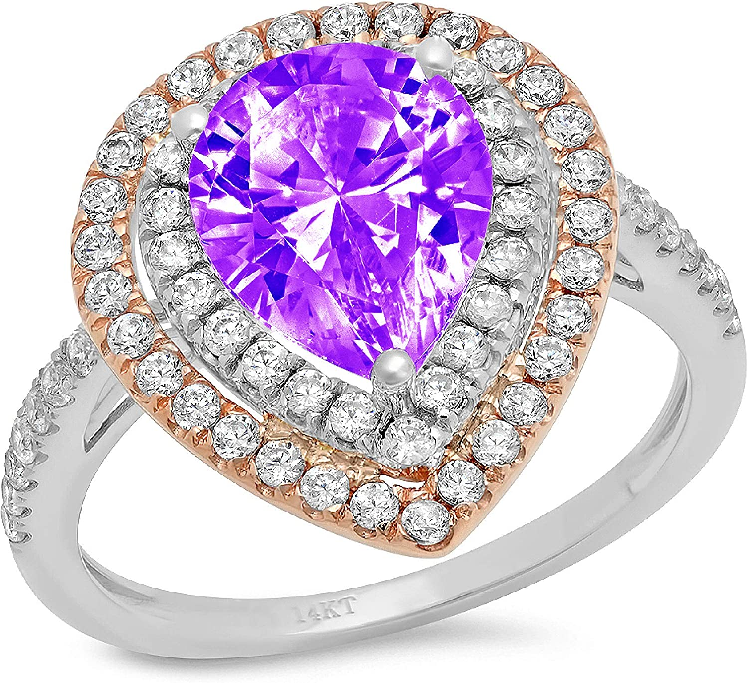 2.66 ct Pear Cut Double Halo Solitaire with Accent Natural Purple Amethyst Gem Stone Ideal VVS1 Engagement Promise Statement Anniversary Bridal Wedding Ring 14k 2 tone Gold