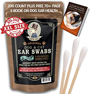Mister Ben's Original Big Bamboo Buds - Premium Cotton Ear Buds Swabs for Dogs and Cats (Large 200 Count) with Long 6 inch Bamboo Handle - Soft & Absorbent for Ear Cleaning