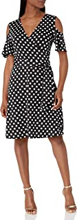 Star Vixen womens Petite Cutout Cold Shoulder Short Sleeve Fauxwrap Dress Dress
