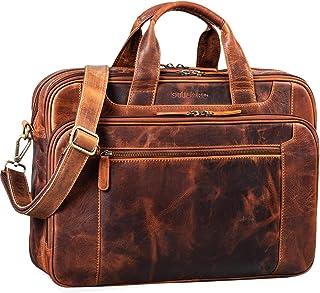 """STILORD Nelson"""" Businesstasche Herren Leder 15,6 Zoll Laptoptasche Groß Aktentasche Umhängetasche aus Vintage Rindsleder"""
