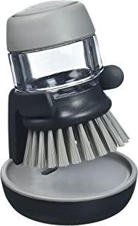 Joseph Joseph 85005 Palm Scrub Dish Brush Soap Dispensing Set with Holder, Gray