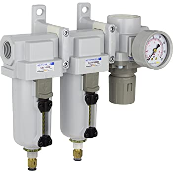 "PneumaticPlus SAU430-N06DG-MEP Three Stage Air Drying System Particulate Air Filter, Coalescing Filter, Air Pressure Regulator Combo 3/4"" NPT - Metal Bowl, Auto Drain, Bracket, Gauge"