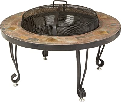 Amazon Basics 34-Inch Natural Stone Fire Pit with Copper Accents