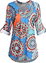Moyabo Women's 3/4 Cuffed Sleeve Floral Printed V Neck Blouse Shirt Tops