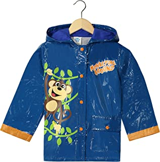 Puddle Play Little Boys` Monkeyin` Around Waterproof Outwear Hooded Rain Coat - Toddler Blue