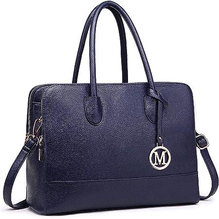 Miss LuLu Aktentasche Handtasche Laptoptasche Arbeitstasche Schultertasche Messenger Bag Retro Elegant Damen (LT1726-Dunkelblau)