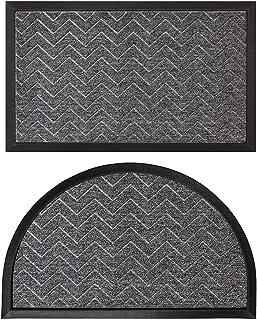 Gorilla Grip Natural Rubber Doormats, 72x24 Runner and 35x23 Half Circle Heavy Duty Indoor Outdoor Low-Profile Mats in Ste...