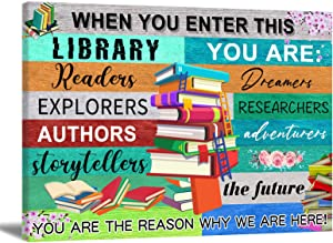 Inspirational Wall Art for Library Colorful Reading Inspirational Quote Poster Motivational Books Canvas Wall Art Decor for School Positive Quote Canvas Paintings for Study Room 24x16in Frameless