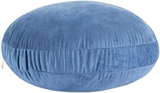 Hodeco Round Throw Pillow 16x16 Sky Blue Super Soft Suede Circle Throw Pillow 3 Denier Down Like Polyester Filling Floor Cushion Decorative Throw Pillow for Couch Room 16 Inches Dia Navy Blue, 1 Piece