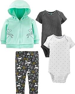 Girls' 4-Piece Fleece Jacket, Pant, and Bodysuit Set