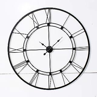 Decorlives 40 اینچ سیاه رنگ ساعت بزرگ دیواری رومی هنر مجسمه سازی دیوار دست ساز