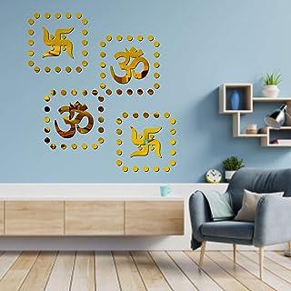 VSA OLLIVANDERS 2 Om 2 Swastik 80 Dot Golden 3D Acrylic Mirror Wall Sticker 818 Decoration for Kids Room/Living Room/Bedro...