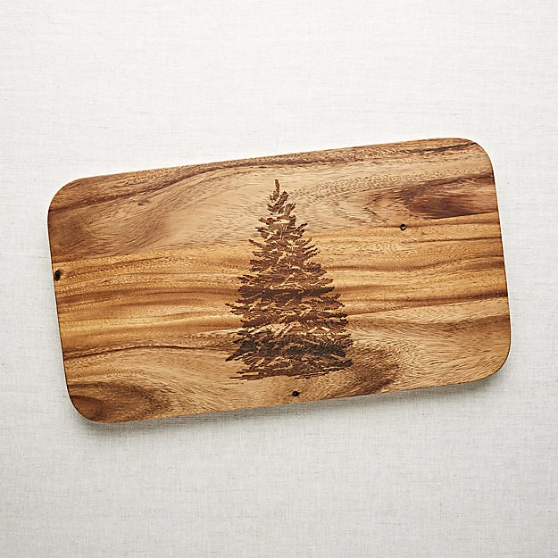 Evergreen Tree Wood Serving Board | Crate and Barrel