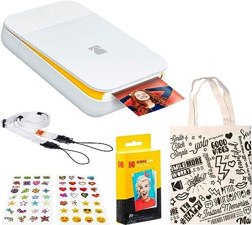lowest KODAK sale Smile Instant Digital popular Printer (White/Yellow) Travel Bundle outlet sale