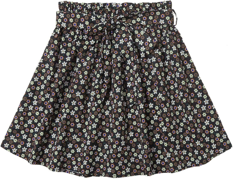 SheIn Women's Summer Floral Print Self Belted A Line Flared Skater Short Skirt Black#1 X-Large