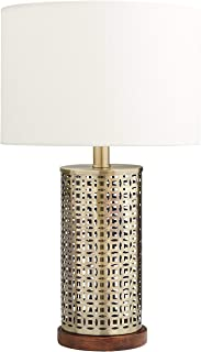 Stone & Beam Mid Century Modern Cut Out Table Lamp With Light Bulb - 12 x 12 x 20 Inches, Antique Brass with Linen Shade