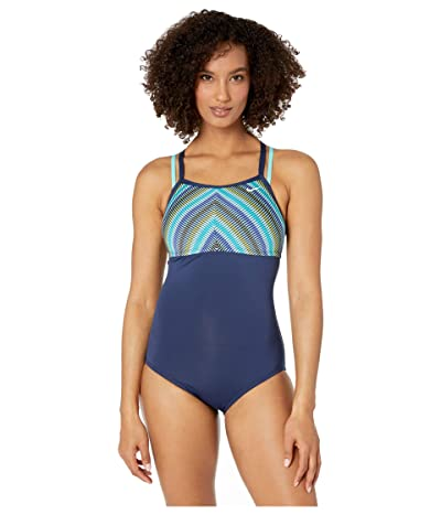 Nike Texture Stripe Double Cross-Back One-Piece (Midnight Navy) Women