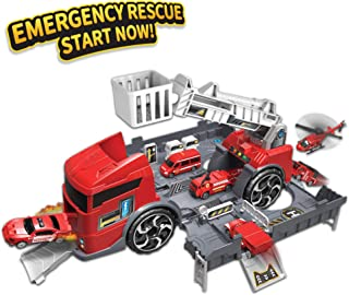Fire Truck for Boys | 6 in 1 Fire Engine Toy with Mini Fire Rescue Emergency Vehicles | Best car carrier truck Play Set w/ Station and Rescue Ladder |Toys Gifts for Boys & Girls, Toddlers Age 2,3,4,5,