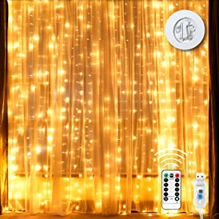 Curtain Lights Waterproof 300 LED Curtain String Lights 6.610 ft with 16 Ft USB Power Wire 8 Modes Remote & Timer Icicle Fairy Lights for Indoor Outdoor Bedroom Window Christmas Wedding, Warm White