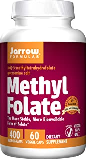 Jarrow Formulas Methyl Folate 5-MTHF, Supports Brain, Memory, Cardiovascular Health, 400 Mcg, 60 Caps