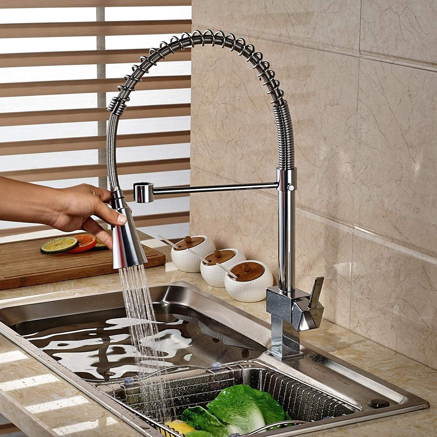 Oudan Modern Chrome Brass Kitchen Faucet Spring Ship Sinks Mixer Tap Single Hole Deck Mounted Hot and Cold Water (color   -, Size   -)
