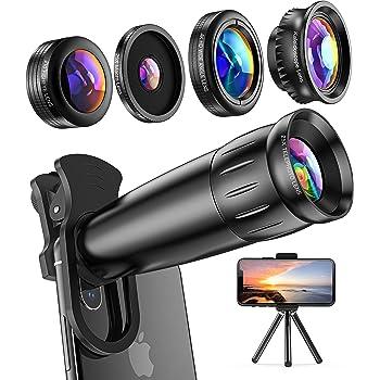 LIERONT 5 in1 スマホ用カメラレンズキット, 進化版HD25倍望遠レンズ0.65倍広角 25倍マイクロレンズ 210°魚眼プラス万華鏡レンズ, ミニ三脚付, き iphone XR 11 X XSmax 8 8p 7 7Pシリーズ、Samsung、galaxy Android タブレットなど対応