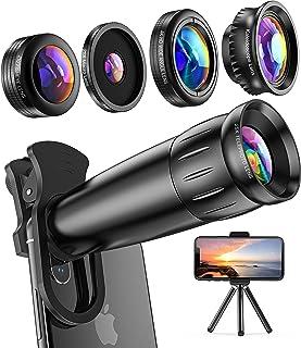 LIERONT 5 in1 スマホ用カメラレンズキット, 進化版HD25倍望遠レンズ0.65倍広角 25倍マイクロレンズ 210°魚眼プラス万華鏡レンズ, ミニ三脚付, き iphone XR 11 X XSmax 8 8p 7 7Pシリーズ、...