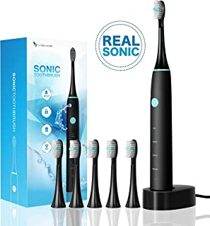 Vence Electric Power Wireless Rechargeable Sonic Toothbrush Ipx7 Waterproof Travel Lock Function With 6 Brush Heads (Black)