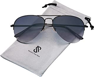 Men's Women's Aviator Sunglasses, Classic Semi Metal...