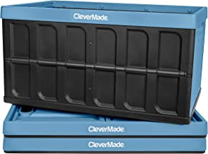 CleverMade 62L Collapsible Storage Bins - Folding Plastic Stackable Utility Crates, Solid Wall CleverCrates, 3 Pack, Slate...