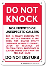 Do Not Knock Do Not Disturb Sign - No Soliciting - 10