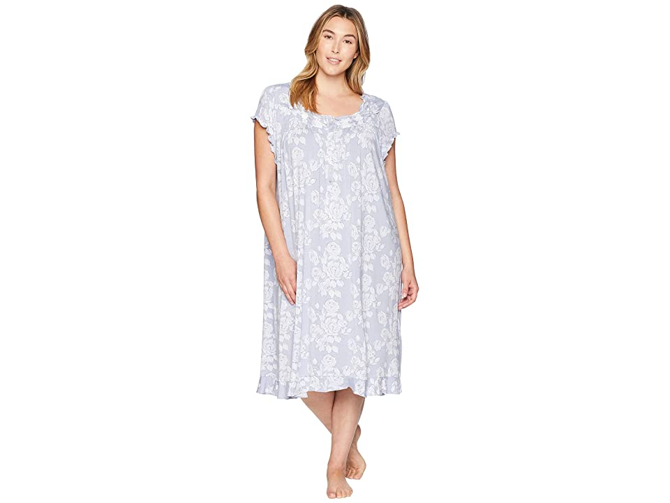 Eileen West Plus Size Waltz Nightgown (Grey Floral) Women
