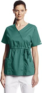 Cherokee Women's Workwear Scrubs Core Stretch Gathered-Front Faux-Wrap Top