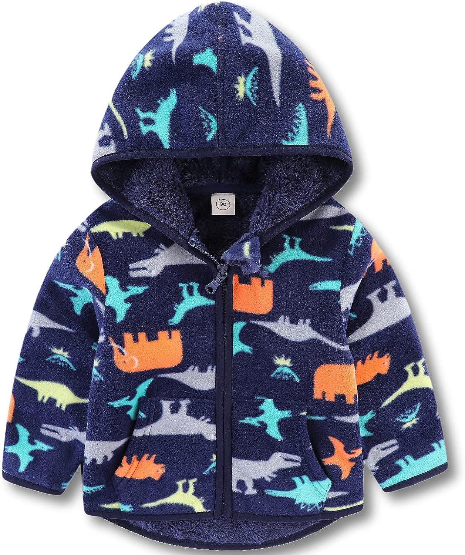 Toddler Baby Polar Fleece Jacket Hooded Kids Boys Girls Autumn Winter Long Sleeve Thick Warm Outerwear 1-6 Years