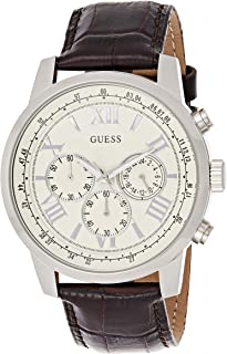 Guess Mens Quartz Watch, Chronograph Display and Leather Strap W0380G2