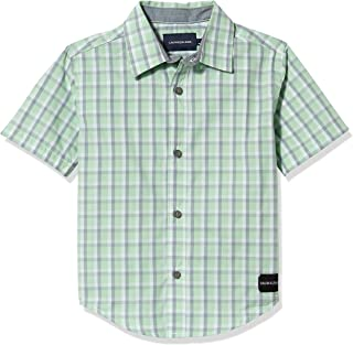 Calvin Klein Boys' Short Sleeve Button Up Woven Shirt