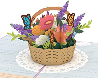 Lovepop Flower Basket Pop Up Card, Card for Mom, Card for Wife, 3D Card, Flower Card, Spring Card, Greeting Card, Thank You Card, Appreciation Card