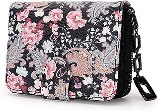 Portafoglio piccolo donna in formato corto, portafoglio donna piccolo con fiori motivo, portafogli donna piccolo con chius...
