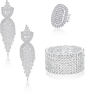 Rhinestone Bridal Jewelry Set for Women Sparkling Rhinestone Stretch Bracelet Ring Dangle Tassel Earrings Set Costume Jewelry