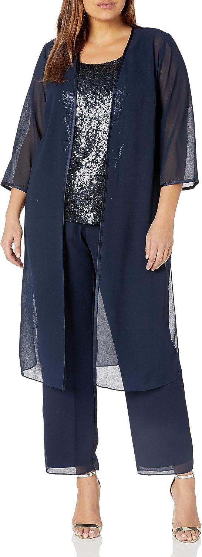 1920s Style Dresses, 20s Dresses Le Bos Womens Sequin Mesh Top with Long Jacket Pantset  AT vintagedancer.com