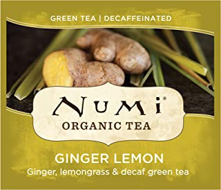Numi Organic Tea Decaf Ginger Lemon, 100 Count Box of Tea Bags, Decaf Green Tea (Packaging May Vary)
