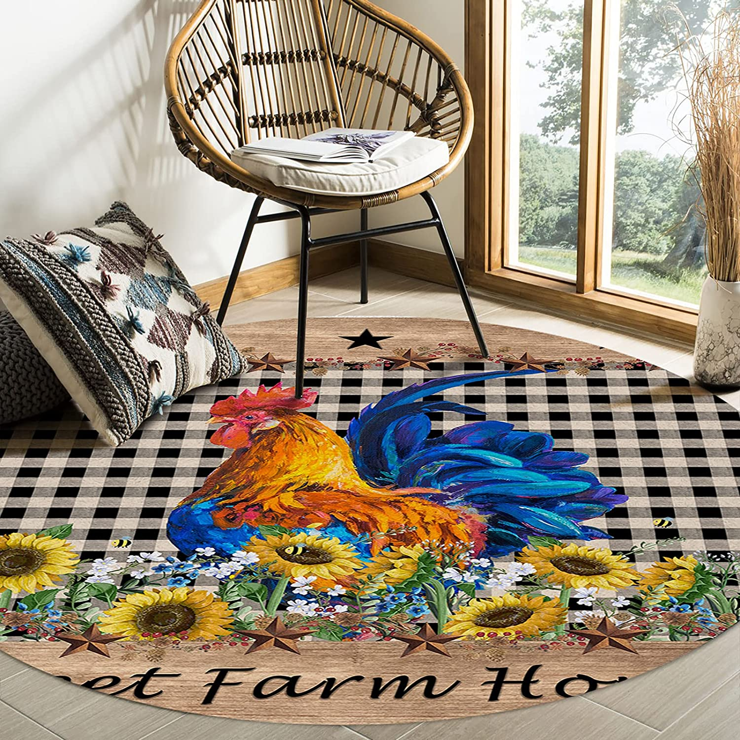 Round Colorado Springs Mall Area Rugs Rural Style Black and Farm Sunflower Inexpensive Rooster
