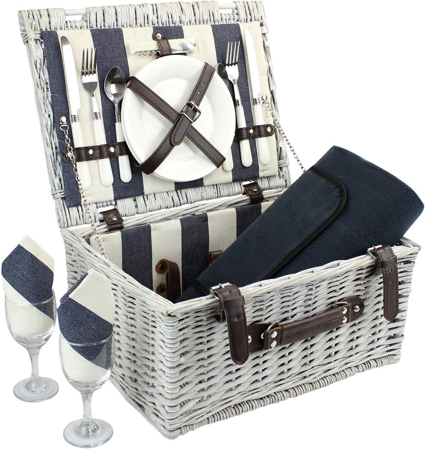 ZORMY Canasta de Picnic de Mimbre para 2 Personas con Manta de Picnic, cesto de Picnic con Cubiertos, Copas de Vino, Platos y servilletas, Rayas Azules