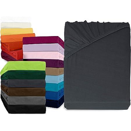 erh/ältlich in 34 modernen Farben und 6 verschiedenen Gr/ö/ßen 70 x 140 cm 100/% Baumwolle anthrazit npluseins klassisches Jersey Spannbetttuch